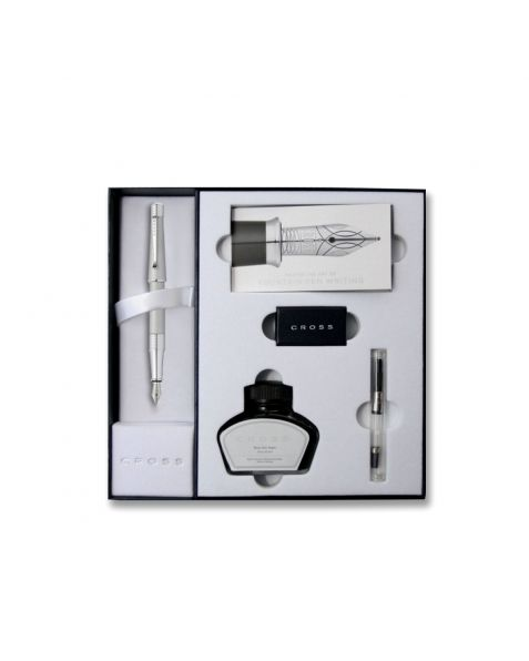 Cross Beverly Fountain Pen & Ink Set - Satin Chrome