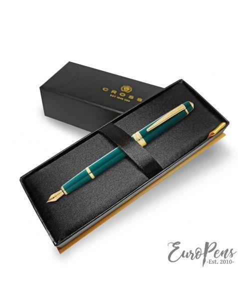 Cross Bailey Light Fountain Pen - Fine Nib - Green with Gold Trim (At0746-12Ff)