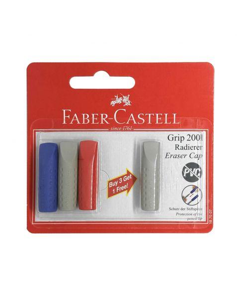 Faber Castell Grey, Blue & Red Grip 2001 Eraser Caps (187007) Pack of 4