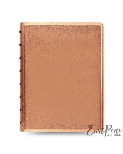 FILOFAX A5 Saffiano Notebook: Metallic Rose Gold