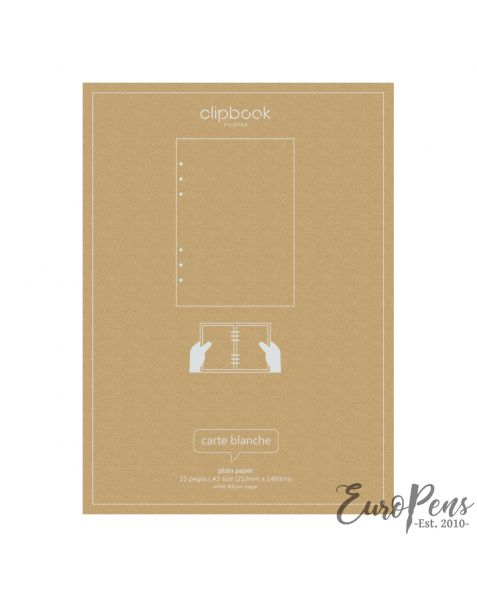 Filofax A5 Clipbook Plain Refill Paper