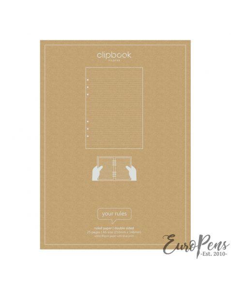 Filofax A5 Clipbook Ruled Refill Paper