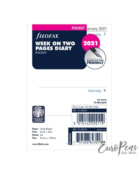 Filofax Pocket Week On Two Pages English - 2021