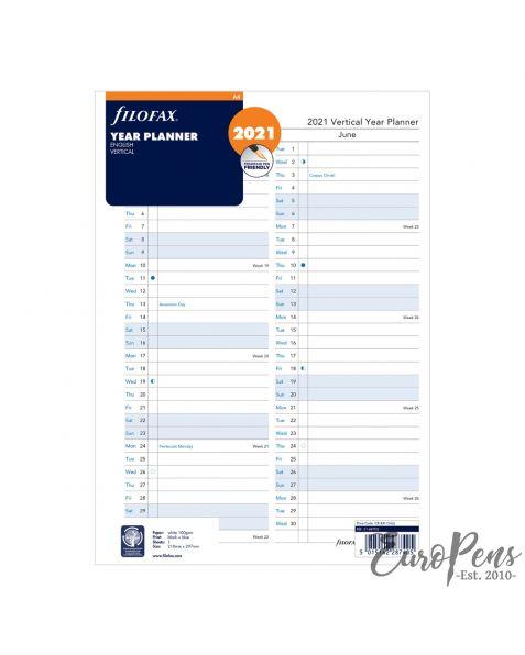Filofax A4 Year Planner Vertical - 2021