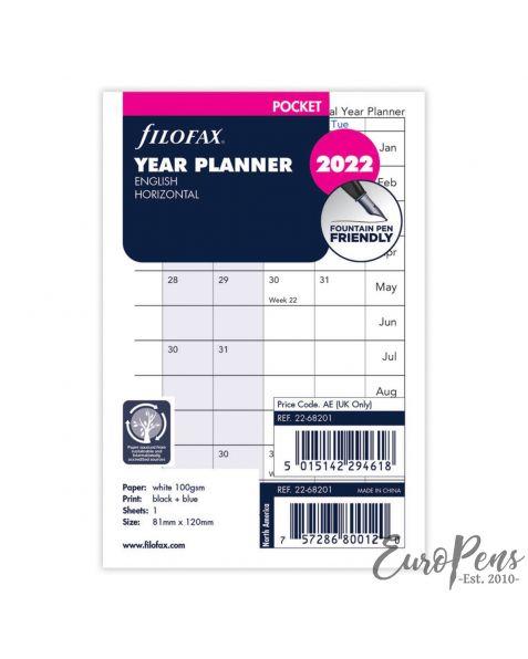 Filofax Pocket Year Planner Horizontal - 2022