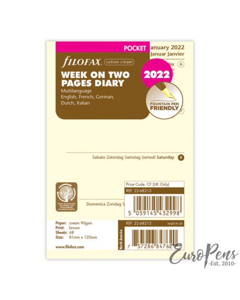 Filofax Pocket Week On Two Cotton Cream 5 Language - 2022