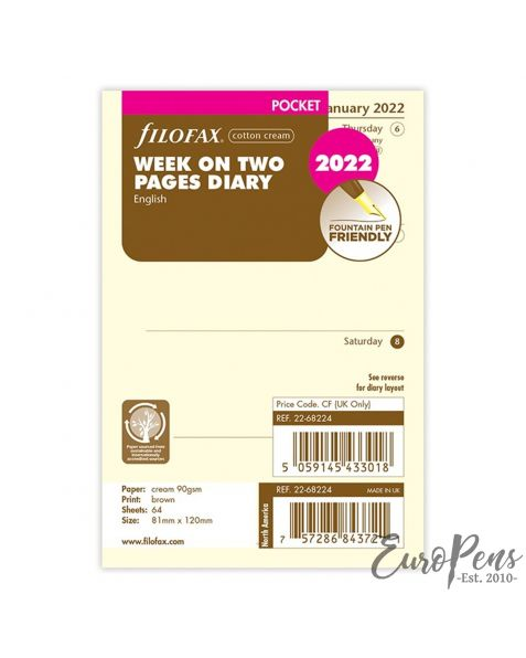 Filofax Pocket Week On Two Pages Cotton Cream English - 2022