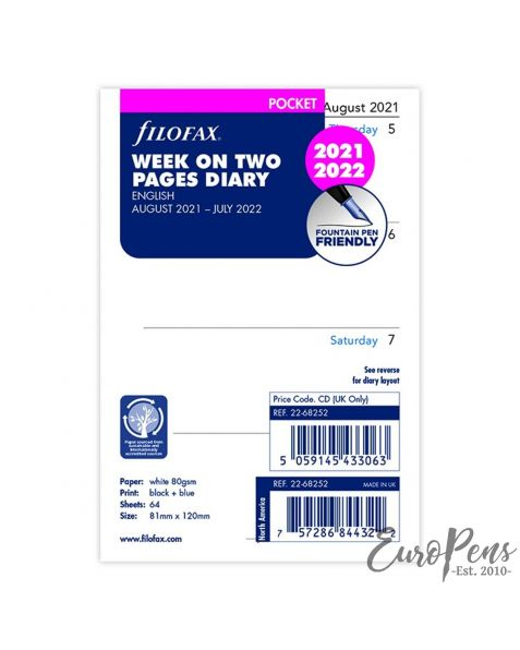 Filofax Pocket Week On Two Pages English Mid Year - Aug 2021 - July 2022