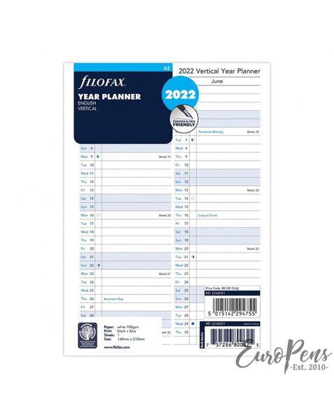 Filofax A5 Vertical Year Planner - 2022