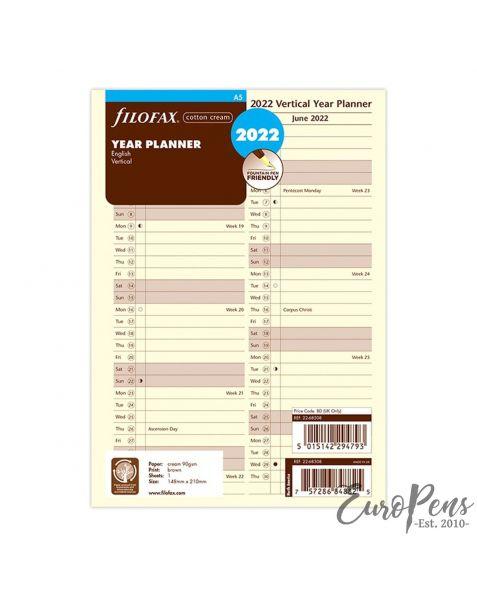 Filofax A5 Vertical Cotton Cream Year Planner - 2022