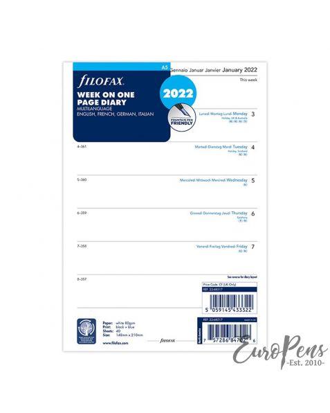 Filofax A5 Week Per Page 4 Language - 2022