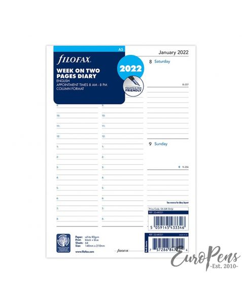 Filofax A5 Week On Two Pages English Column Format - 2022