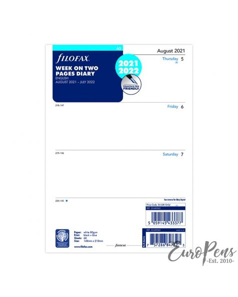 Filofax A5 Week On Two Pages English Mid Year - Aug 2021 - Jul 2022