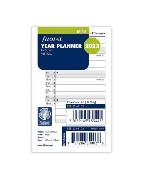 Filofax Mini Vertical Year Planner - 2023
