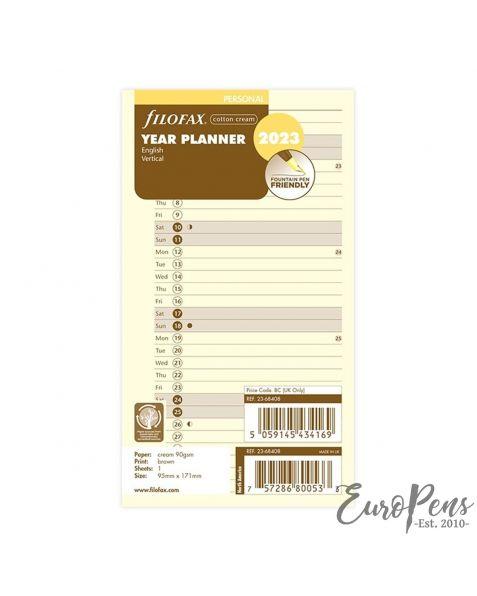 Filofax Personal Cotton Cream Vertical Year Planner - 2023