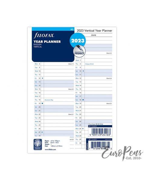 Filofax A5 Vertical Year Planner - 2023