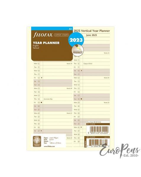 Filofax A5 Cotton Cream Vertical Year Planner - 2023