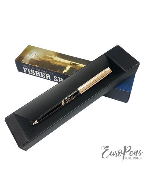 Fisher Apollo Cap-O-Matic Space Pen - 50TH Anniversary - Black Barrel With Gold Cap & Logo