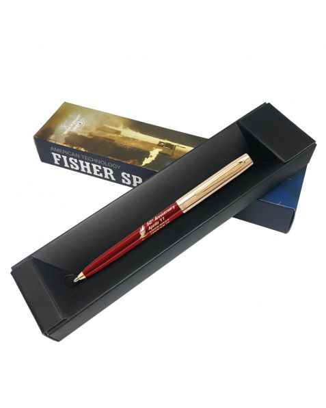 Fisher Apollo Cap-O-Matic Space Pen - 50TH Anniversary - Burgundy Barrel With Gold Cap & Logo