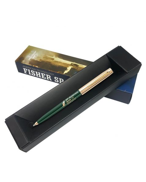 Fisher Apollo Cap-O-Matic Space Pen - 50TH Anniversary - Green Barrel With Gold Cap & Logo
