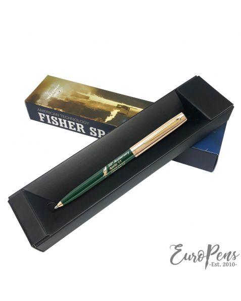 Fisher Apollo Cap-O-Matic Space Pen - 50TH Anniversary - Green Barrel With Gold Cap & Logo