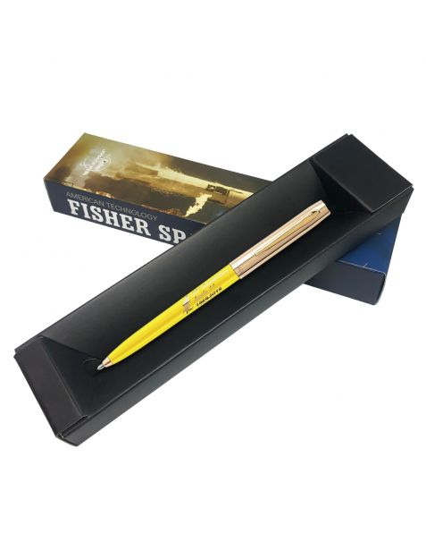 Fisher Apollo Cap-O-Matic Space Pen - 50TH Anniversary - Yellow Barrel With Gold Cap & Logo