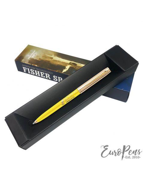 Fisher Apollo Cap-O-Matic Space Pen - 50TH Anniversary - Yellow Barrel With Gold Cap & Logo