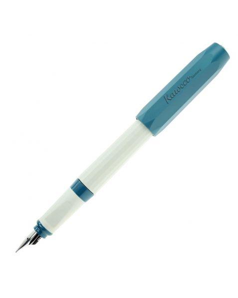 KAWECO Perkeo Old Chambray Fountain Pen with Medium Steel Nib: Turquoise / White