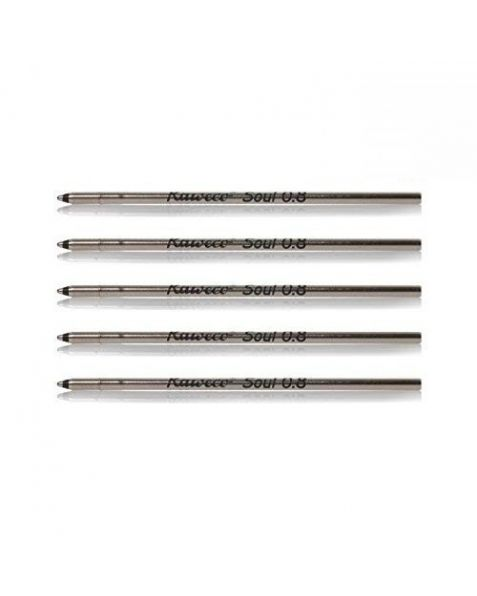 KAWECO D1 Ballpoint Pen Fine (0.8) Refills: Black (Pack of 5)