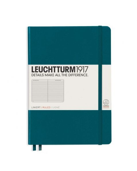 Leuchtturm1917 Notebook (A5) Classic Hardcover - Pacific Green - Ruled