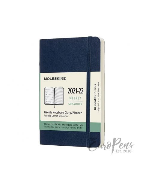 Moleskine Weekly Notebook - 2021 / 2022 - 18 Month - Pocket Softcover - Sapphire Blue