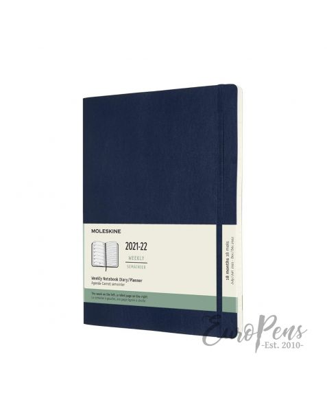 Moleskine Weekly Notebook - 2021 / 2022 - 18 Month - X-Large Softcover - Sapphire Blue