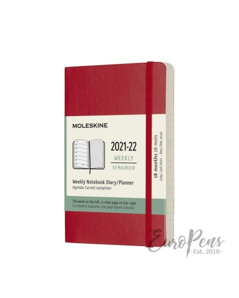 Moleskine Weekly Notebook - 2021 / 2022 - 18 Month - Pocket Softcover - Scarlet Red