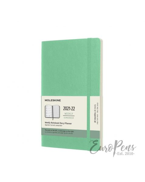 Moleskine Weekly Notebook - 2021 / 2022 - 18 Month - Large (A5) Softcover - Ice Green
