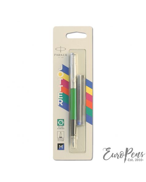 Parker Jotter - Original Classic Green Fountain Pen - Medium Nib - Blister Packed - 2110198