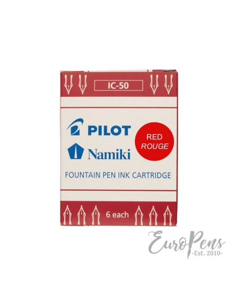Pilot Fountain Pen Retractable Ink Cartridges - Pack Of 6 - Red