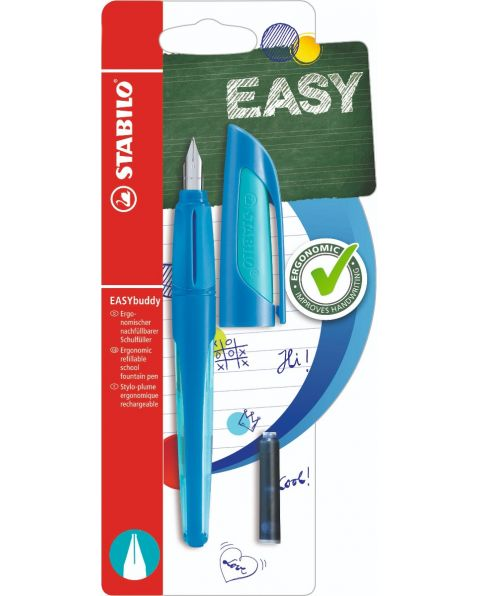 STABILO® EASYbuddy - Ergonomic School Fountain Pen - Blue/Light Blue - Medium Nib
