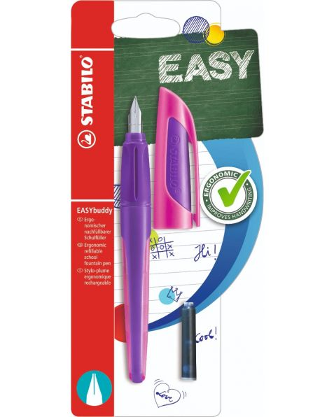 STABILO® EASYbuddy - Ergonomic School Fountain Pen - Purple/Magenta - Medium Nib