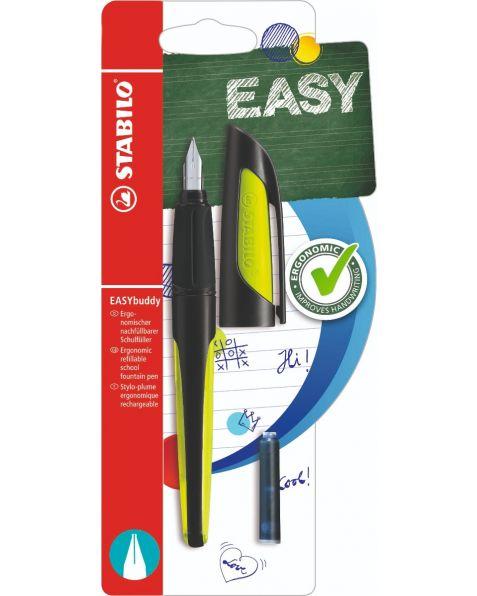 STABILO® EASYbuddy - Ergonomic School Fountain Pen - Black/Lime - Medium Nib