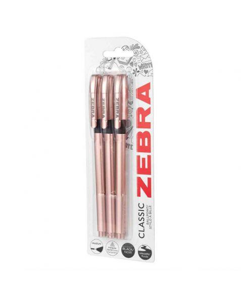 ZEBRA Classic Z-Grip Ballpoint Pens: Rose Gold (Pack of 3)